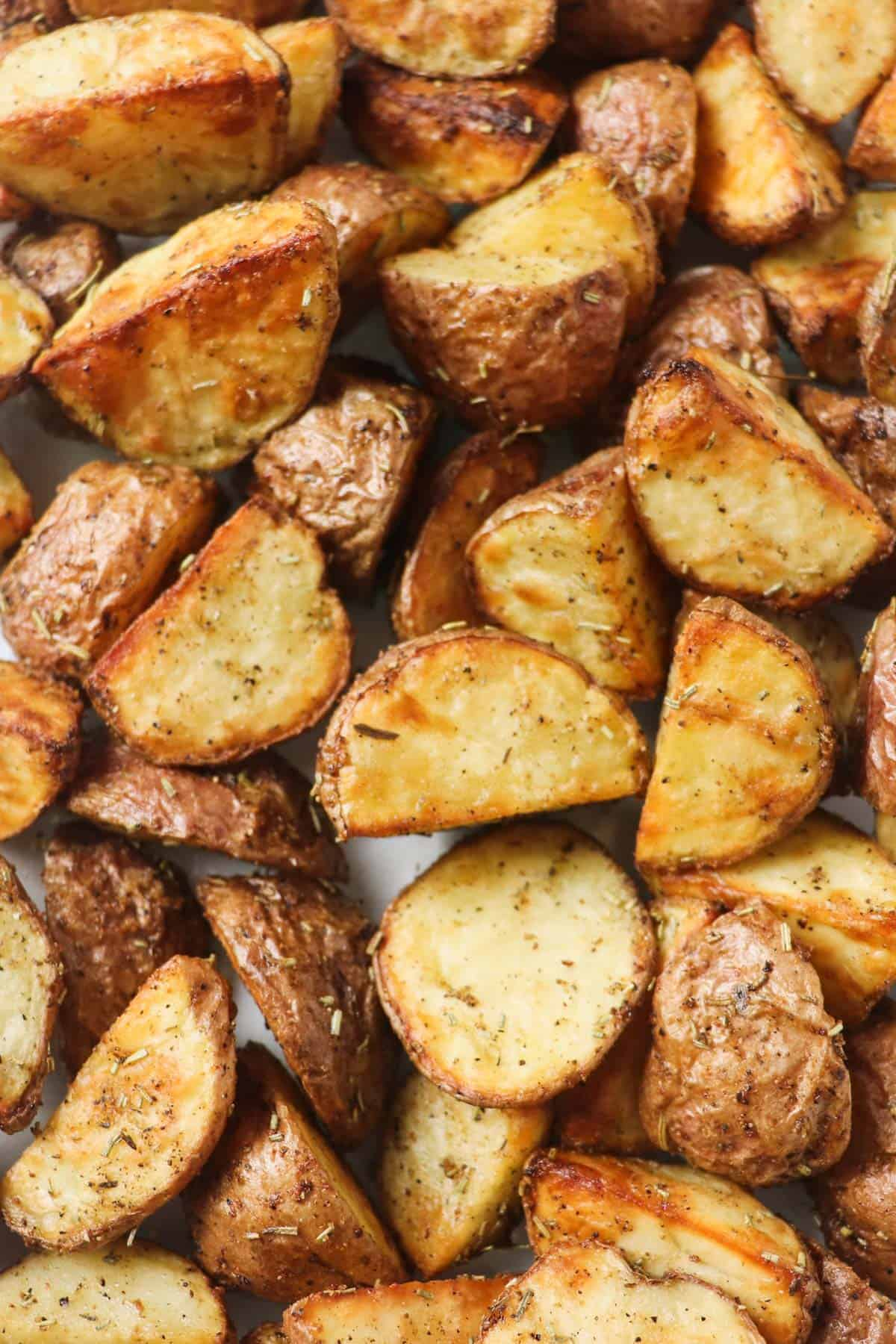 close up of air fryer roasted potatoes