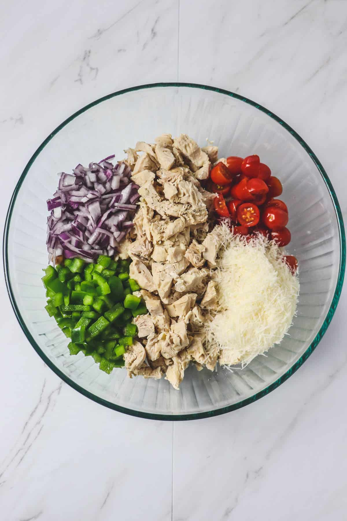 ingredients in italian chicken pasta salad