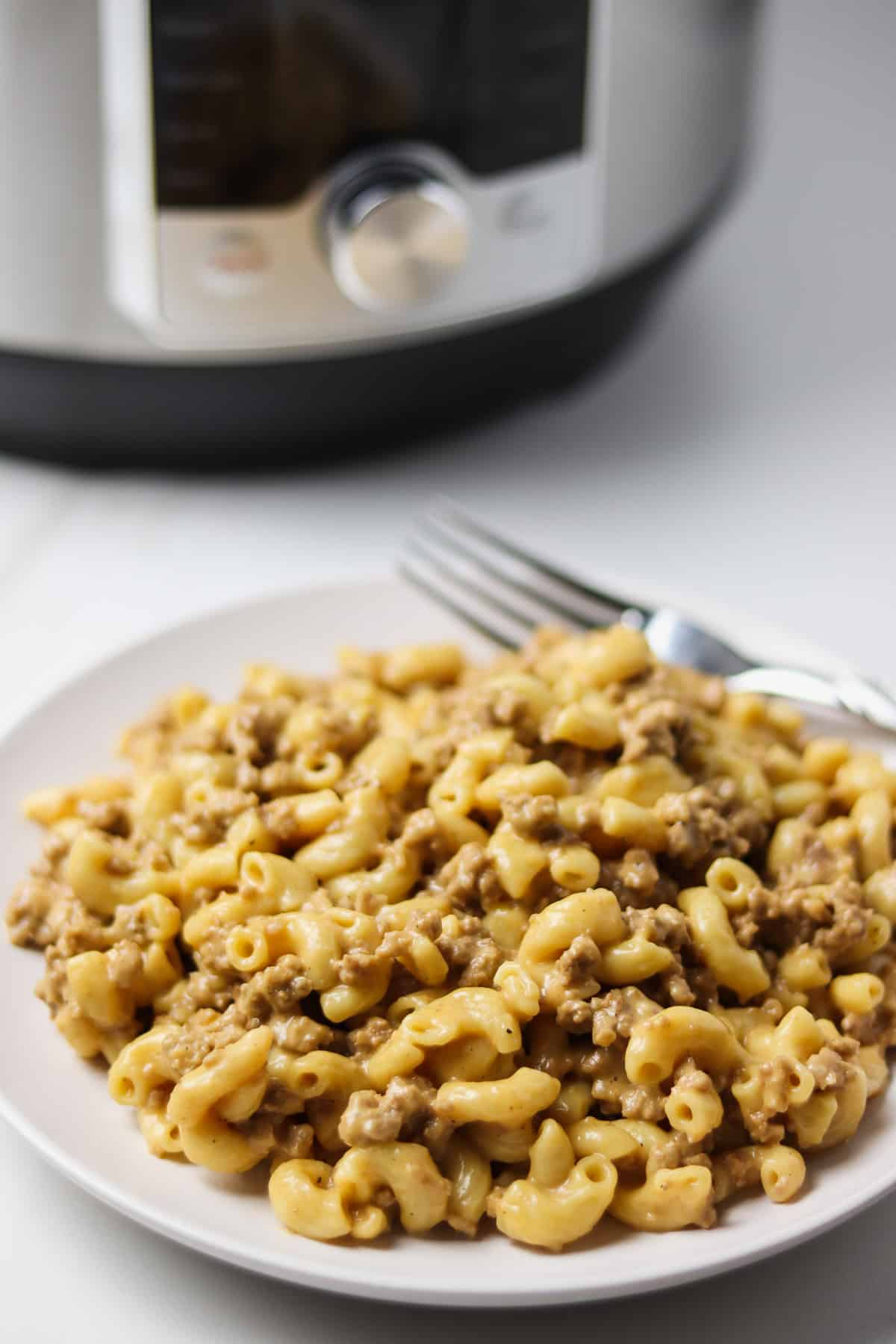 plate of hamburger helper in front of instant pot