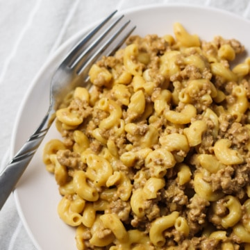 instant pot hamburger helper on plate with fork