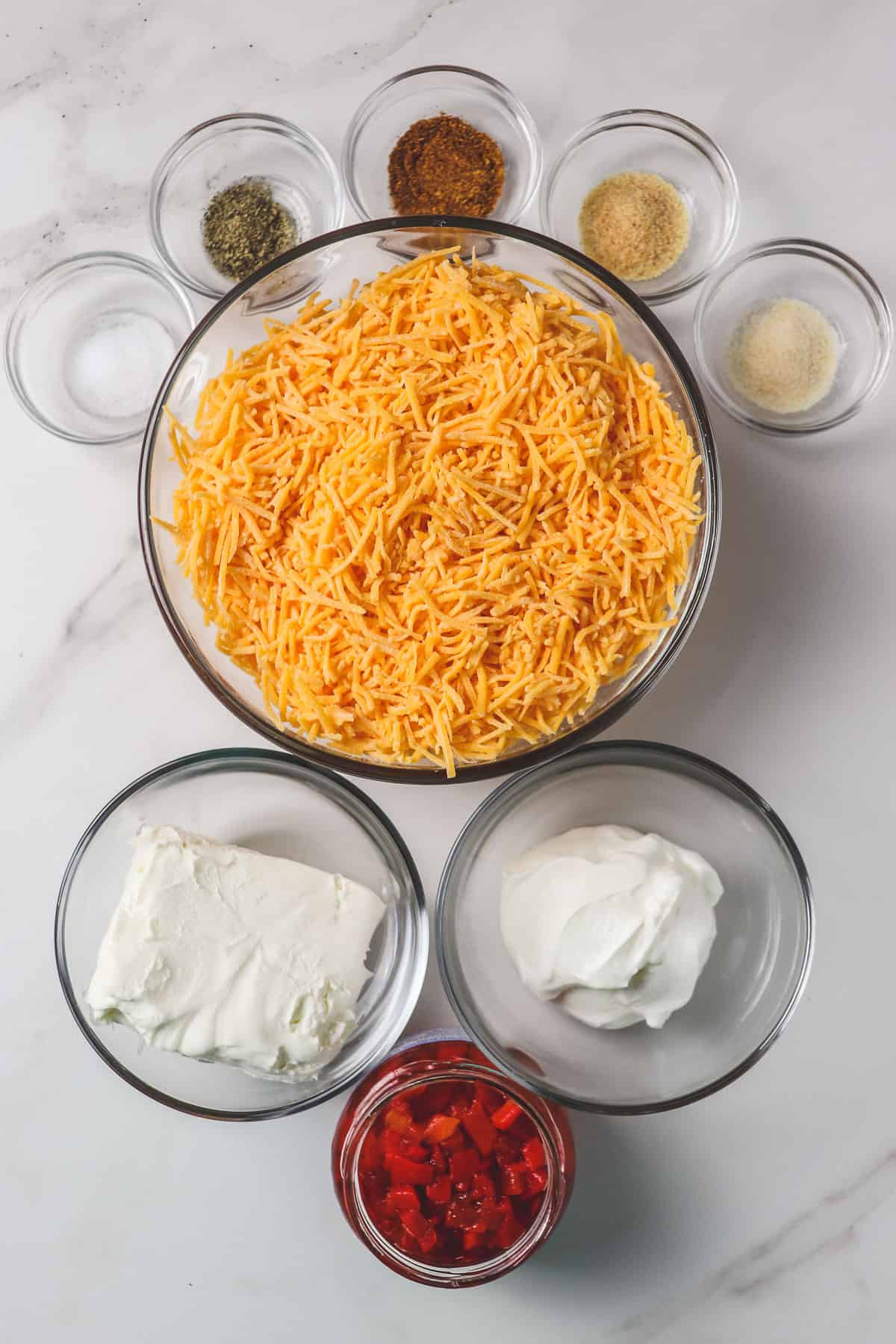 ingredients for no mayo pimento cheese