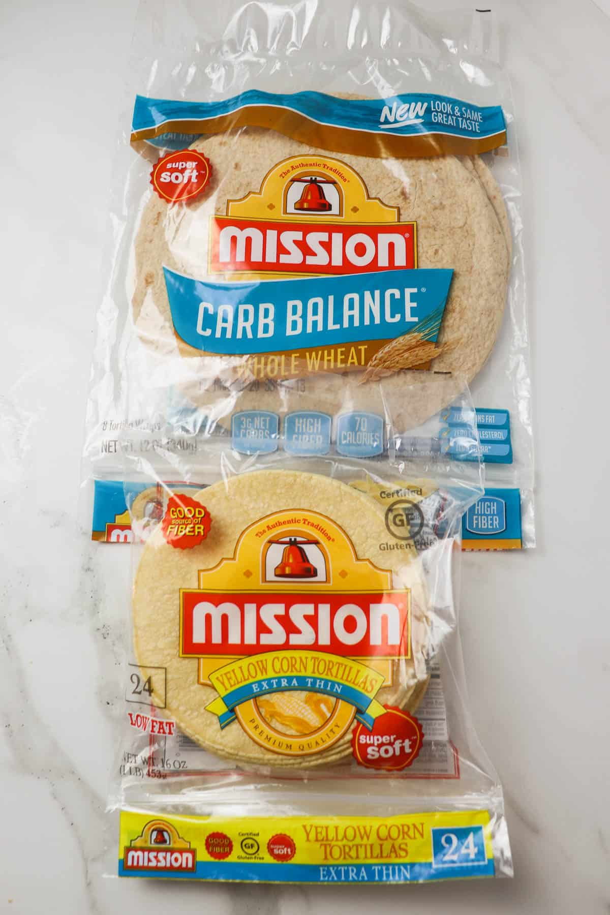 corn tortillas and whole wheat low carb tortillas in the package