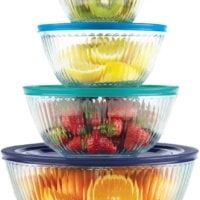Pyrex 4-piece 100 Years Glass Mixing Bowl Set (Limited Edition) - Assorted Colors Lids