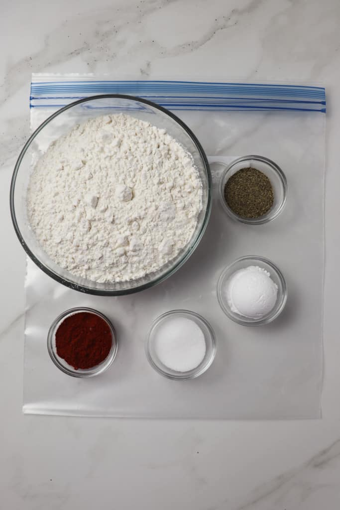 ingredients for chicken nugget breading mixture