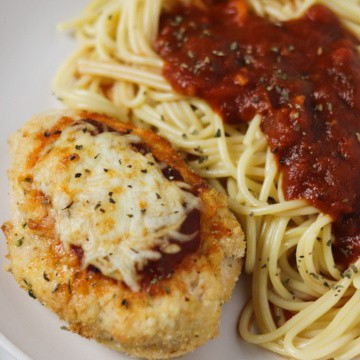 air fryer chicken parmesan with spaghetti and marinara