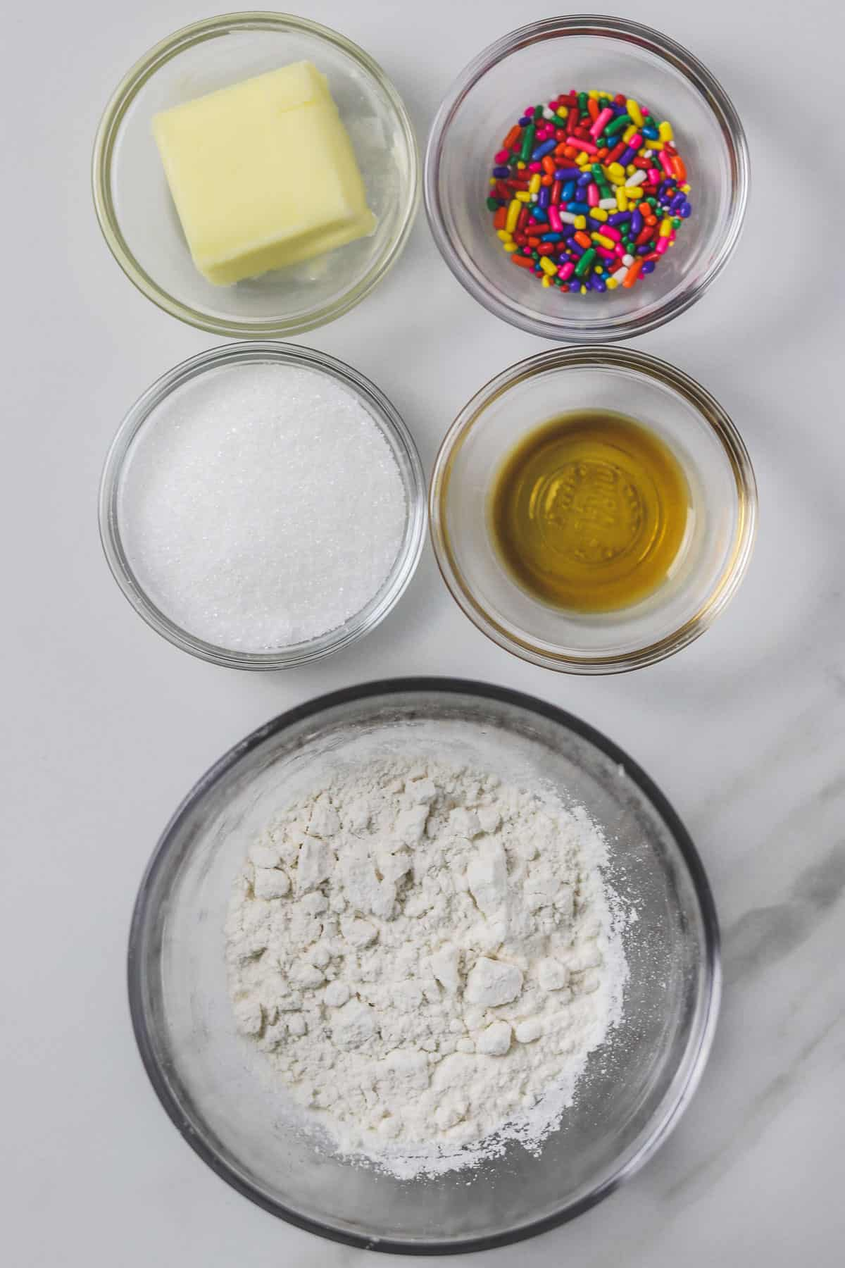 ingredients for single serving edible sugar cookie dough