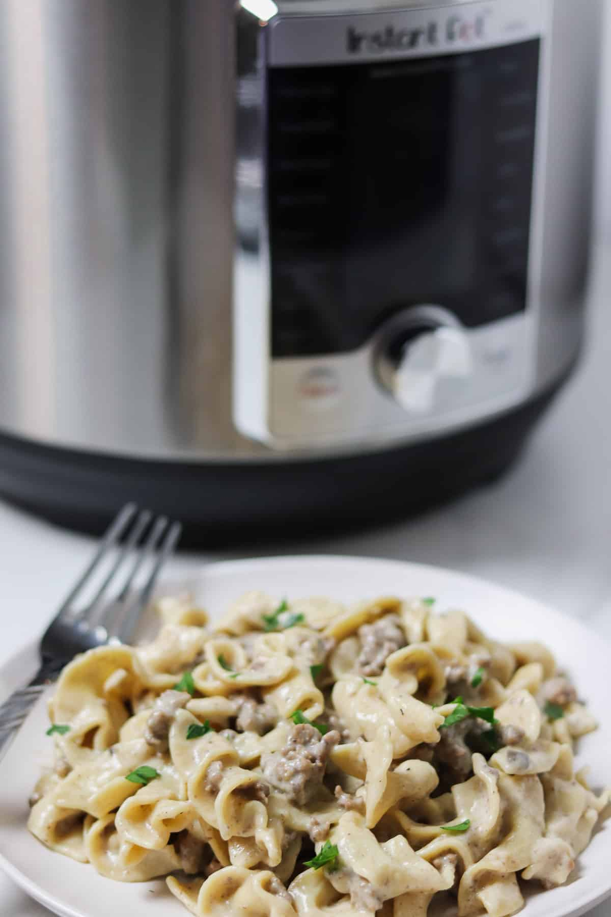 plate of instant pot ground beef stroganoff in front of instant pot