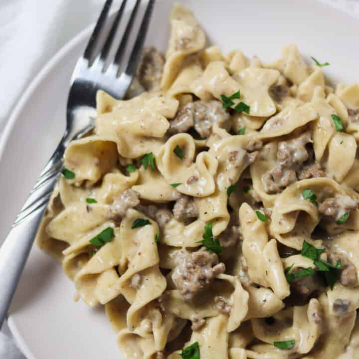 plate of instant pot ground beef stroganoff with fork
