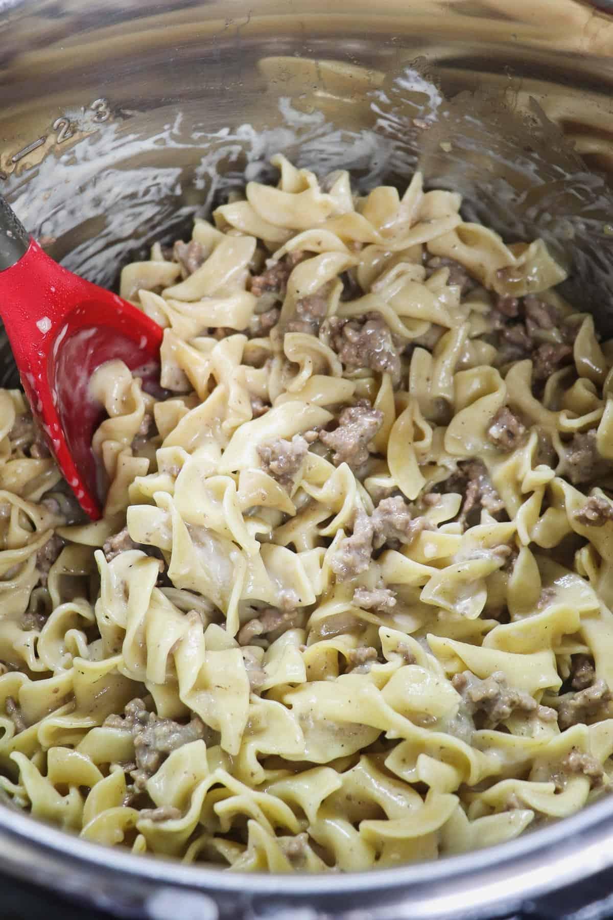 cooked beef stroganoff in the instant pot