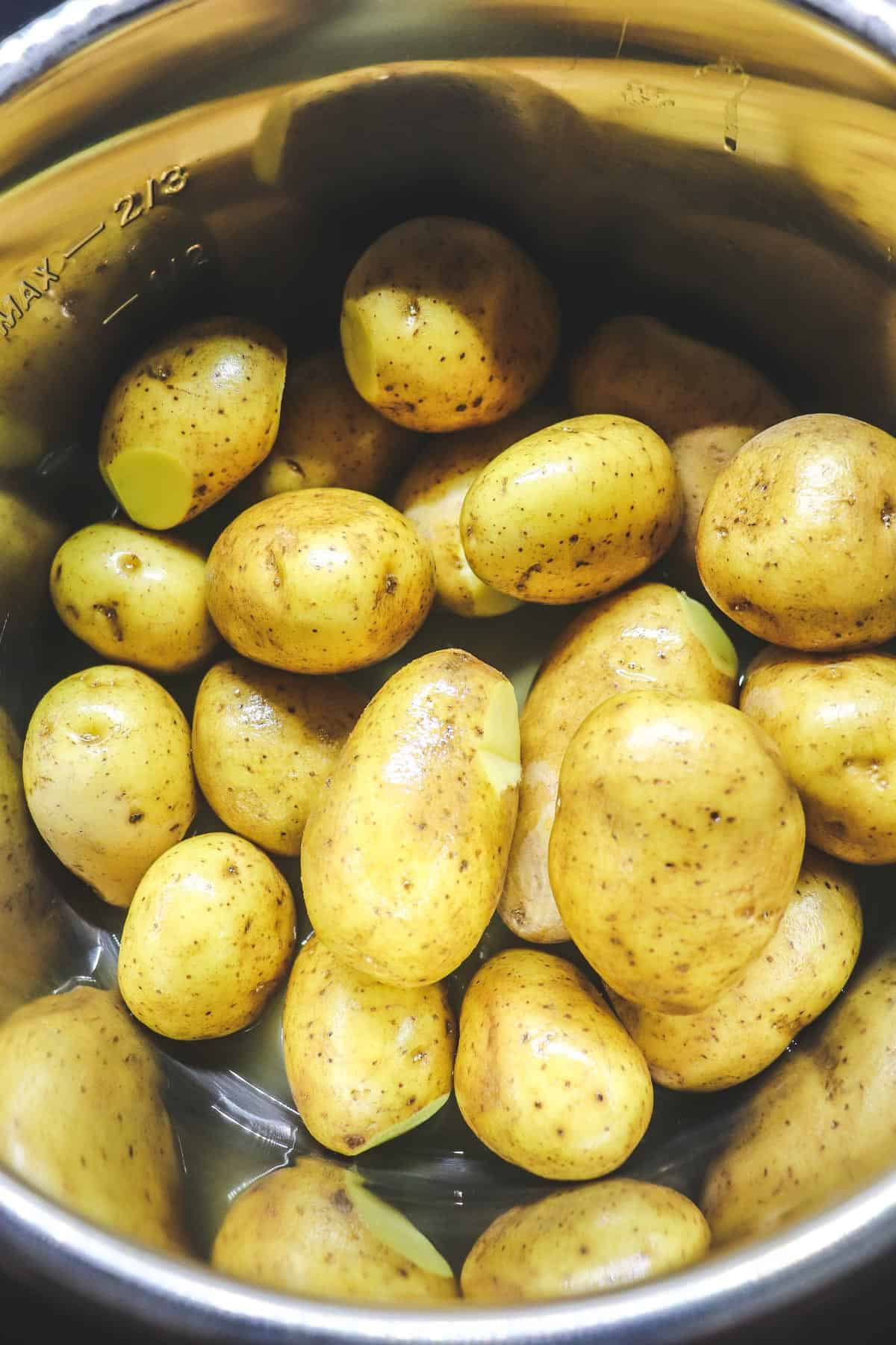 uncooked yukon gold potatoes in the instant pot