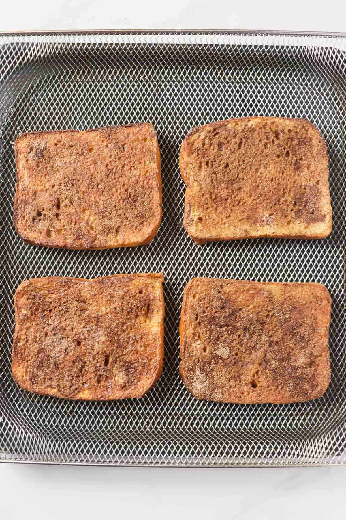 cooked french toast in air fryer basket