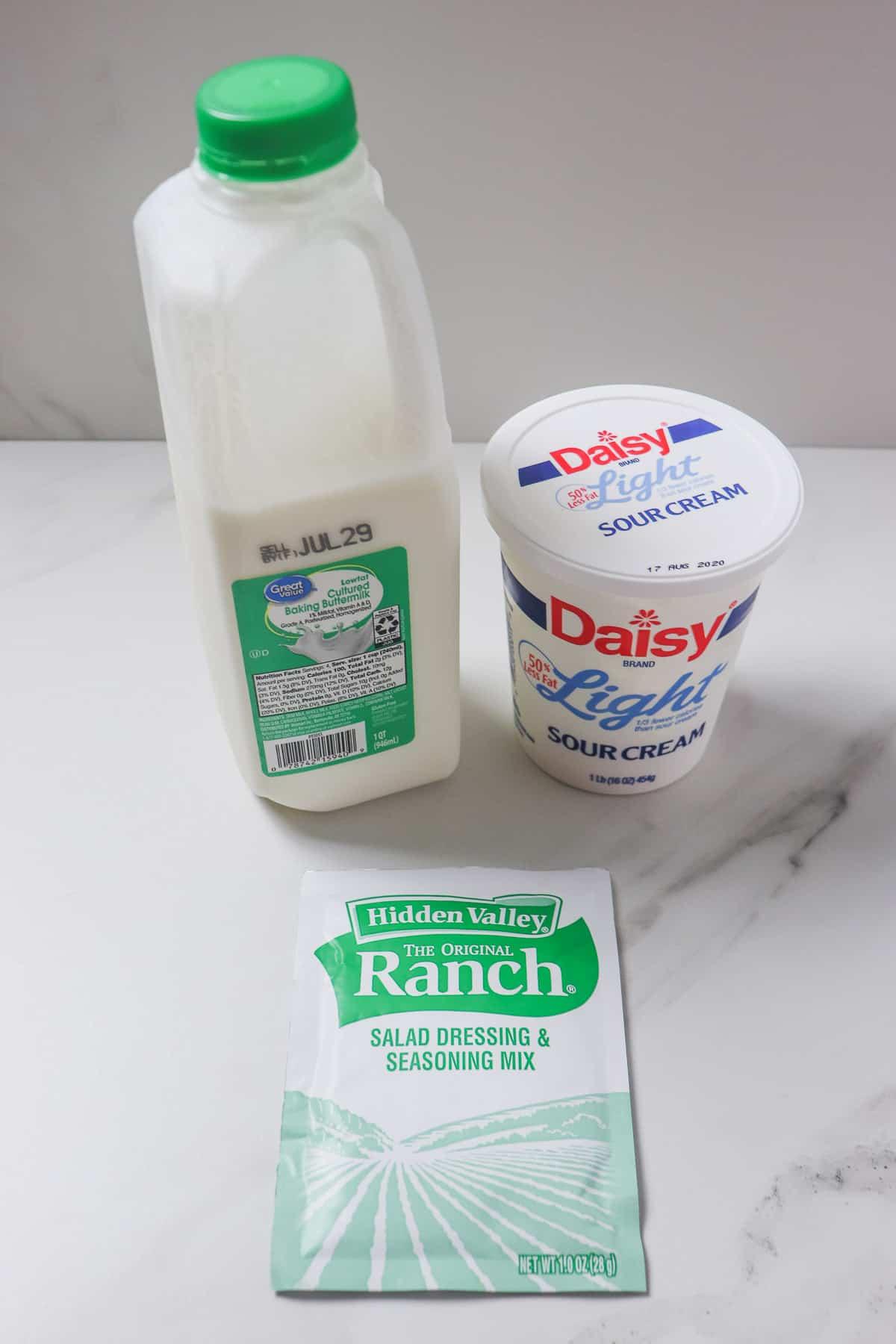 ingredients for buttermilk ranch dip