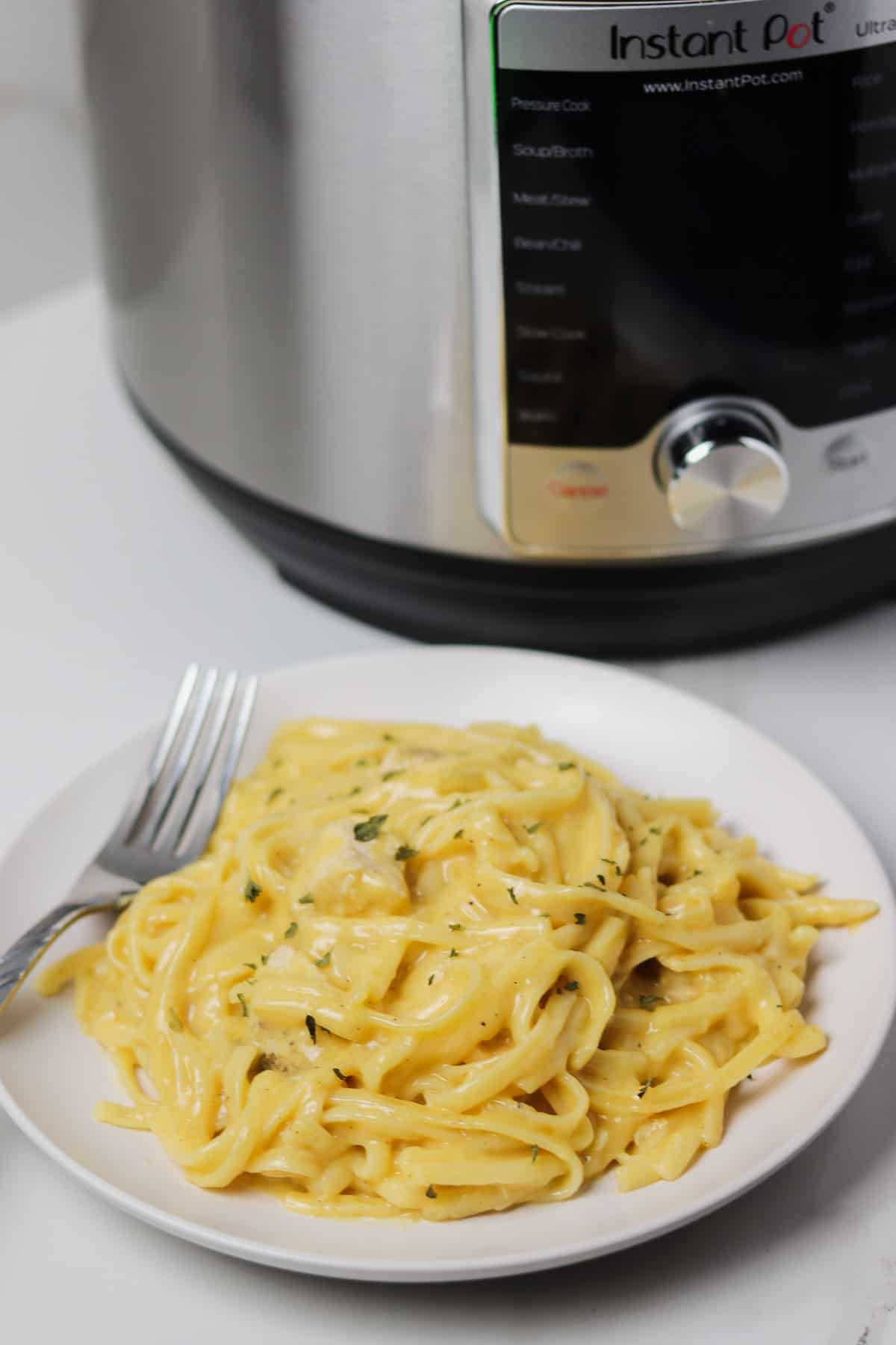 plate of chicken spaghetti in front of the instant pot