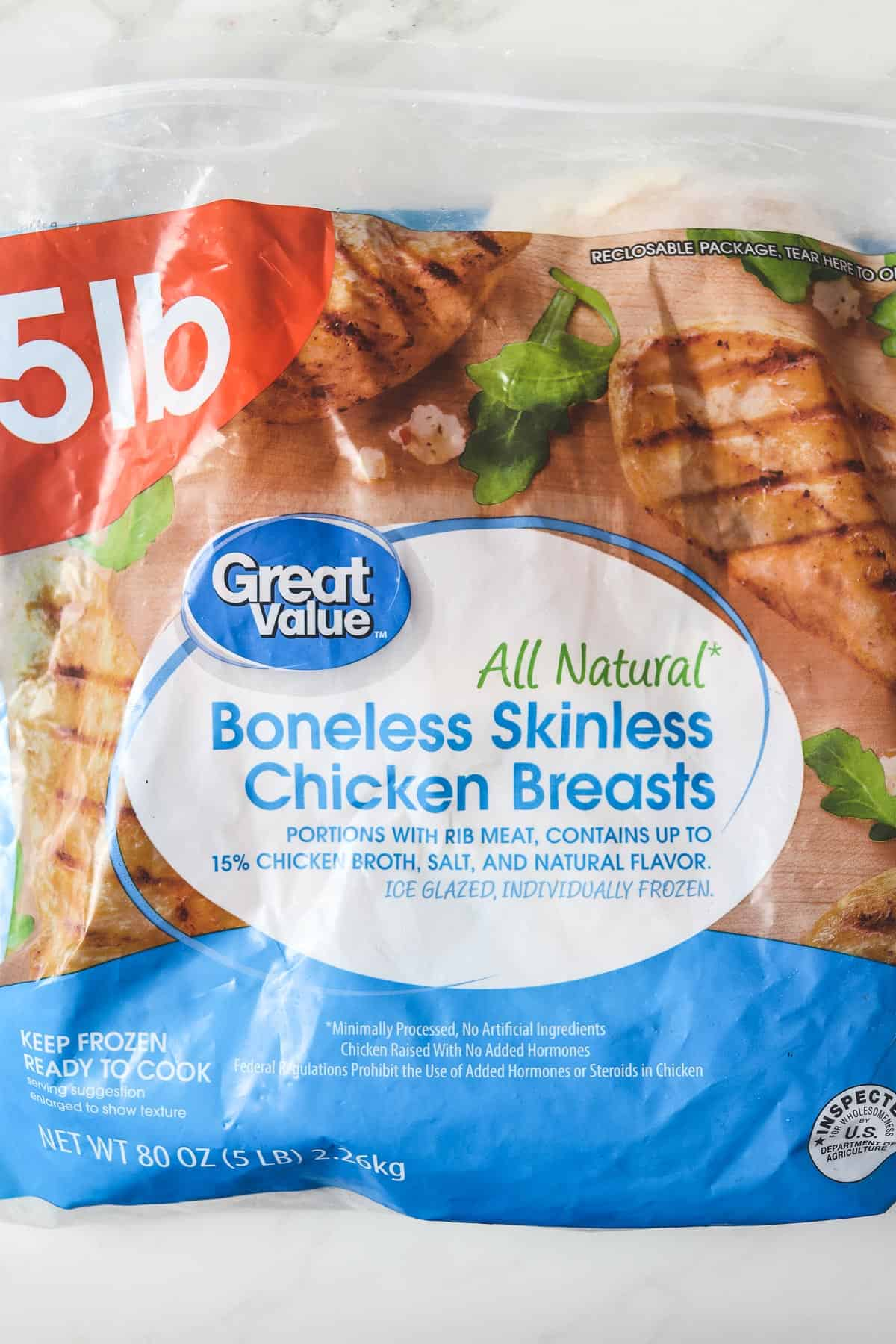 frozen chicken breasts in a bag