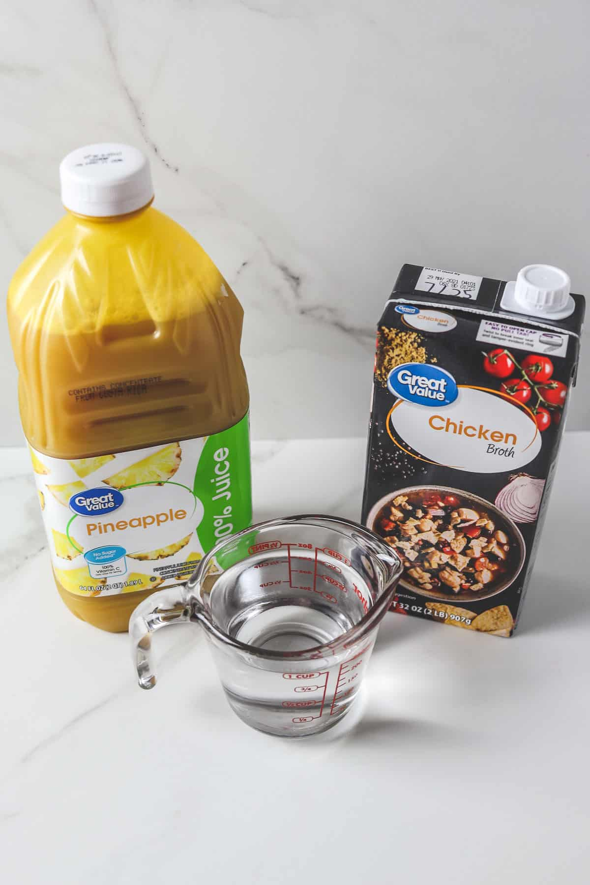 options for cooking liquid - pineapple juice, water, and chicken broth