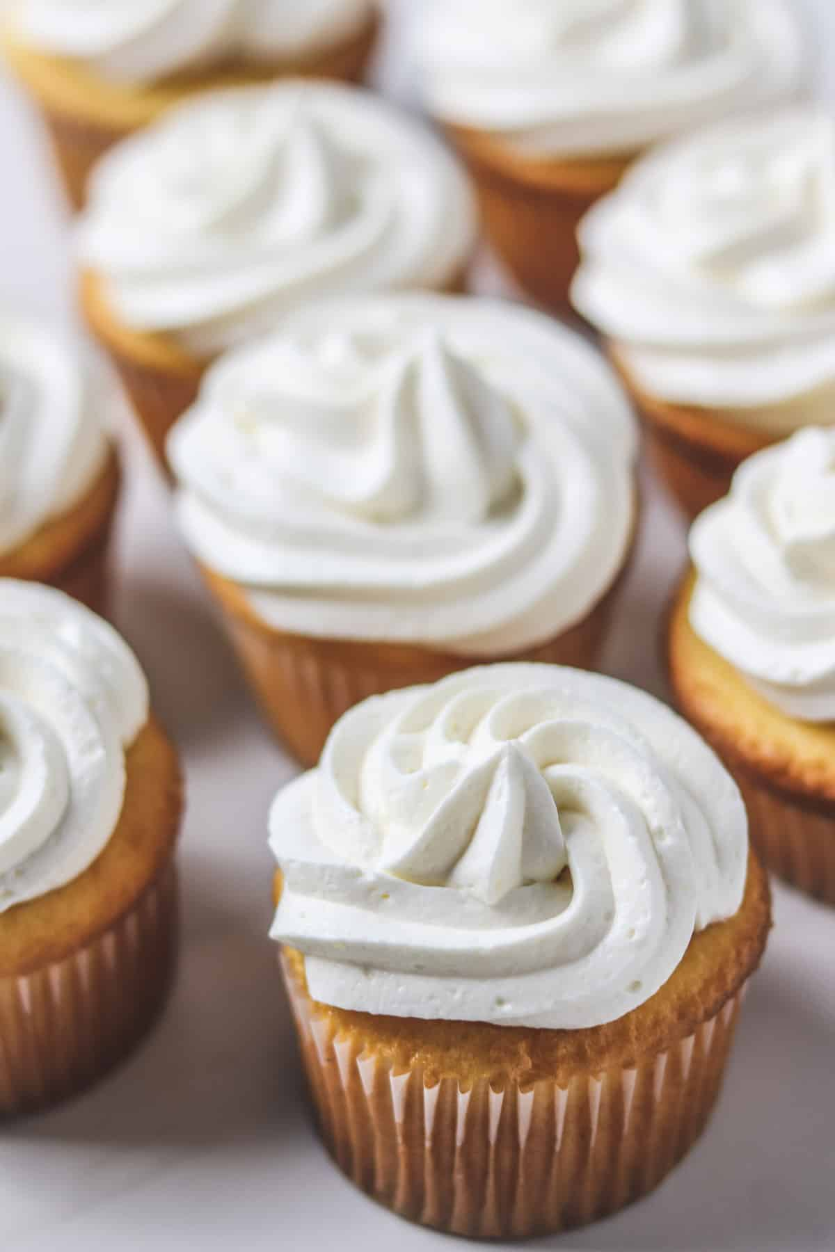 sugar-free frosting piped on vanilla cupcakes