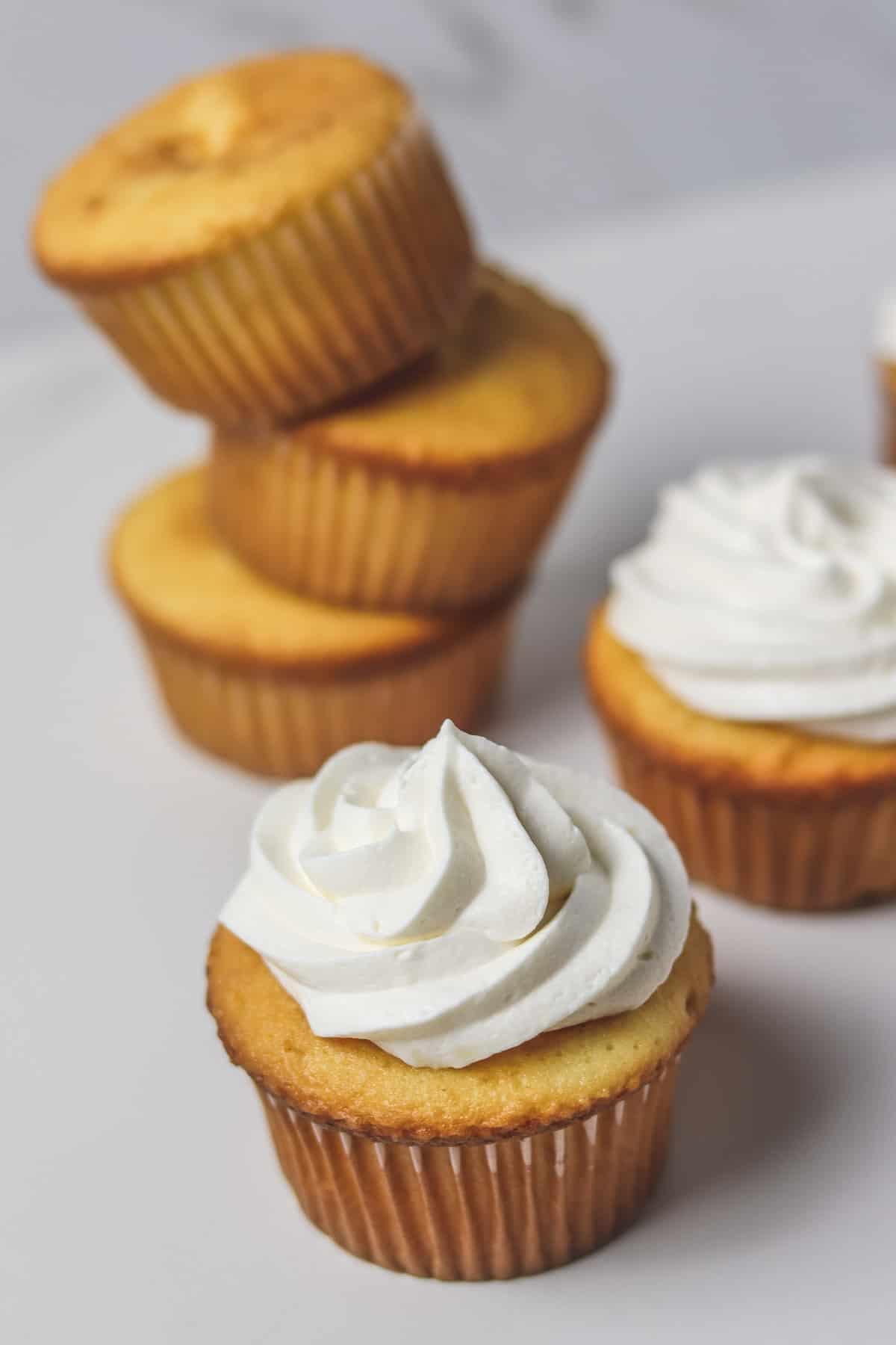 sugar-free keto frosting on a vanilla cupcake