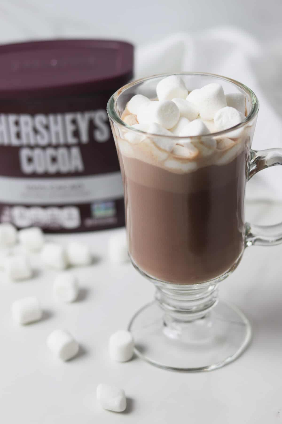 glass of sugar-free hot cocoa with marshmallows on top