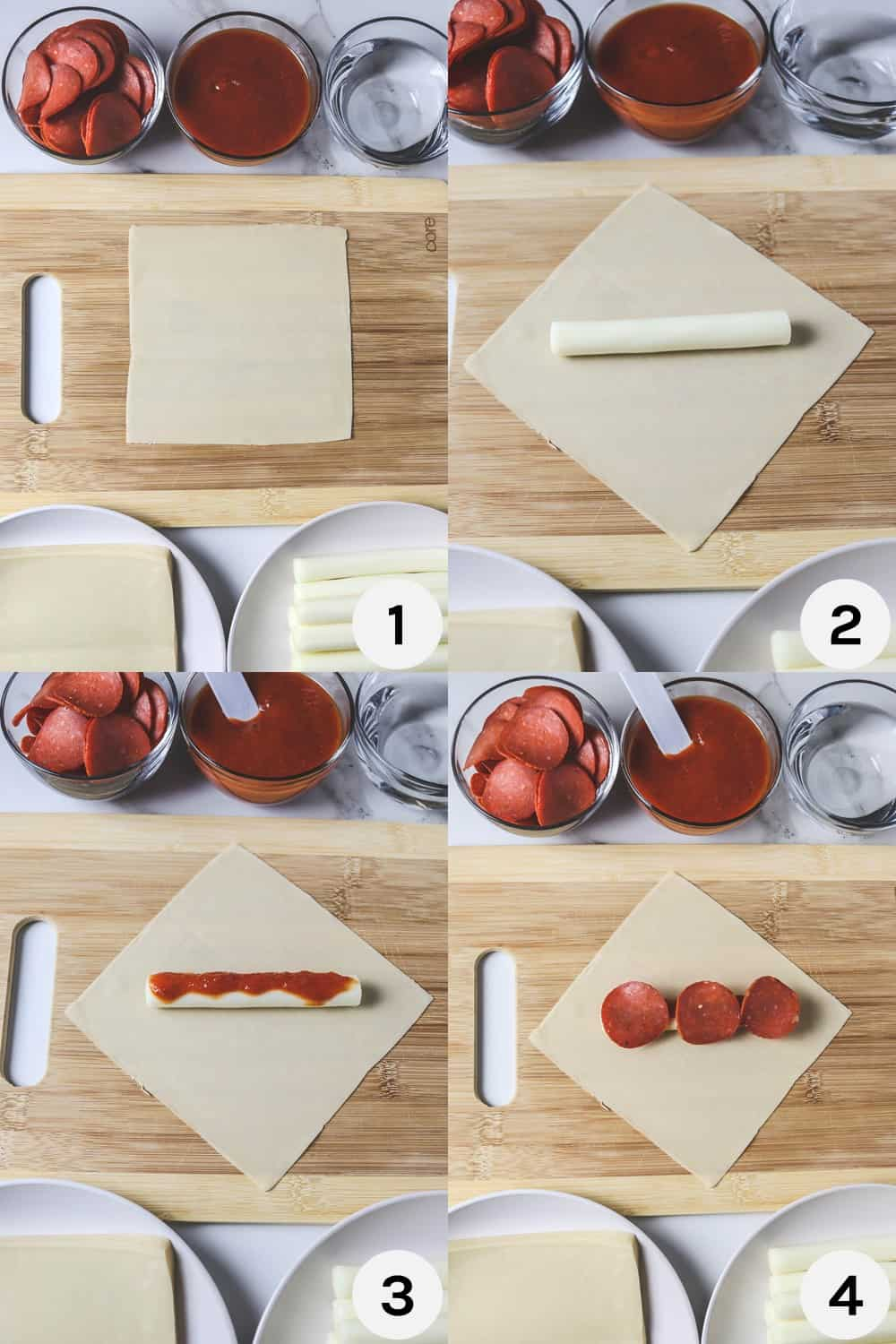 steps for filling pizza rolls