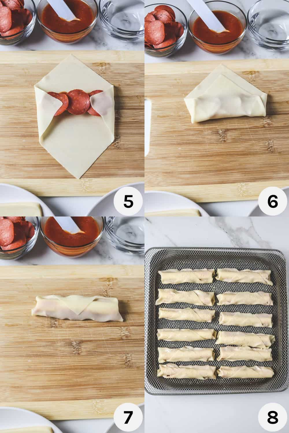 steps for folding pizza rolls