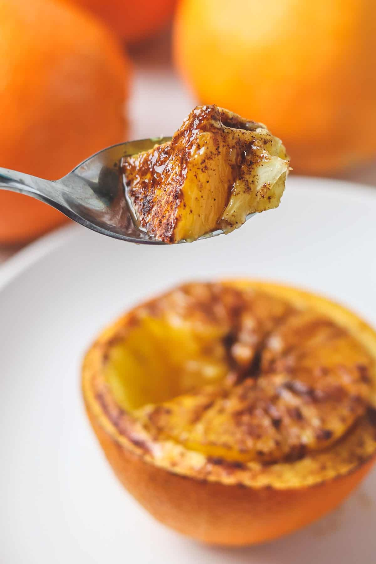 bite of honey cinnamon orange in a spoon