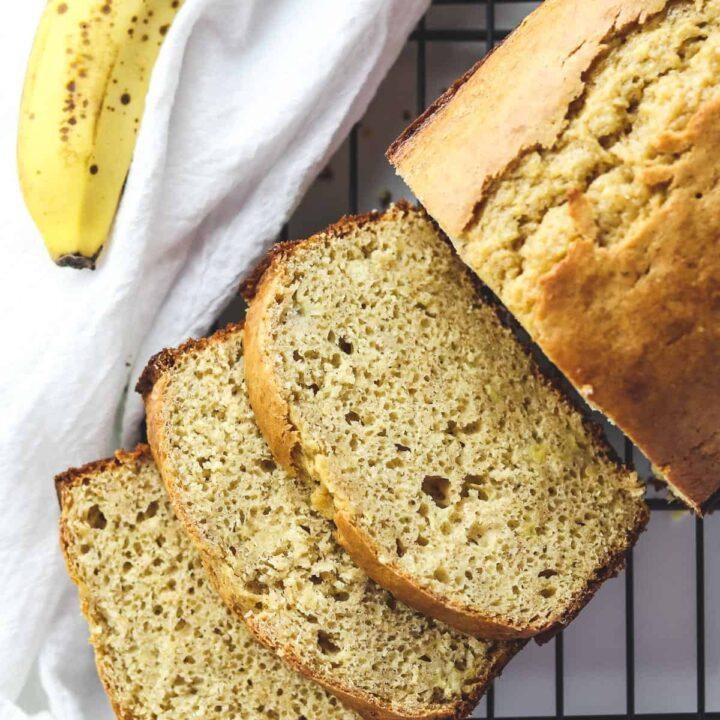 banana bread cut into slices