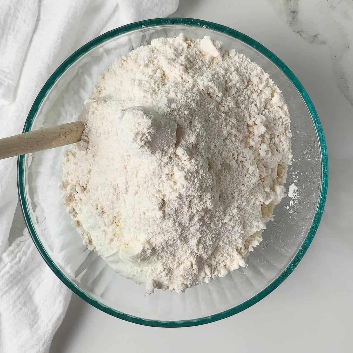 ingredients for dunkaroo dip in glass bowl before stirring