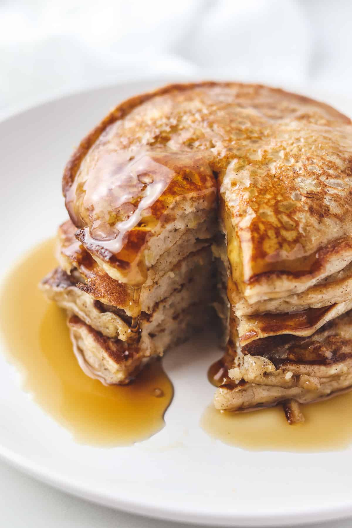 stack of low calorie pancakes with a bite taken out