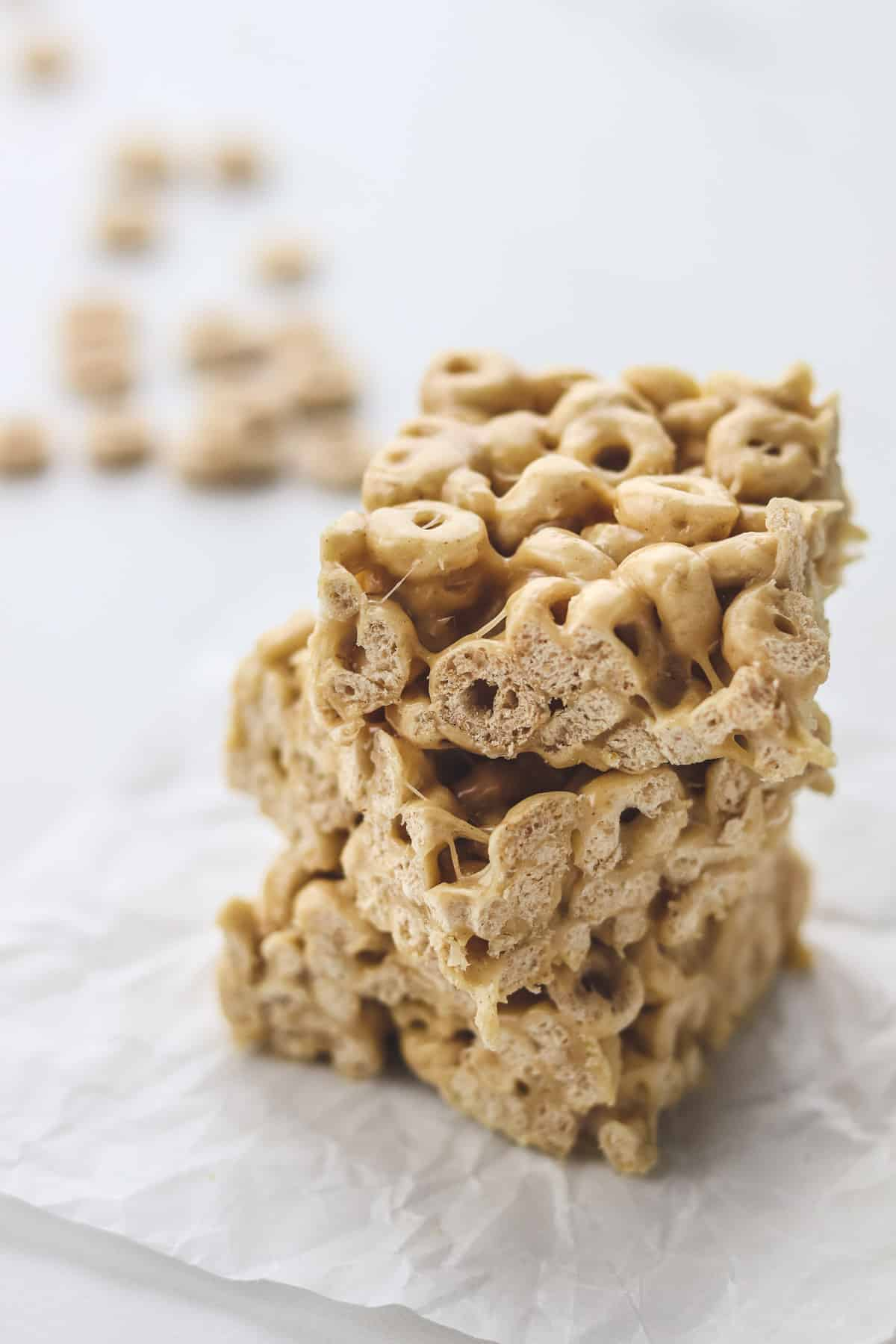 stack of peanut butter cheerio bars