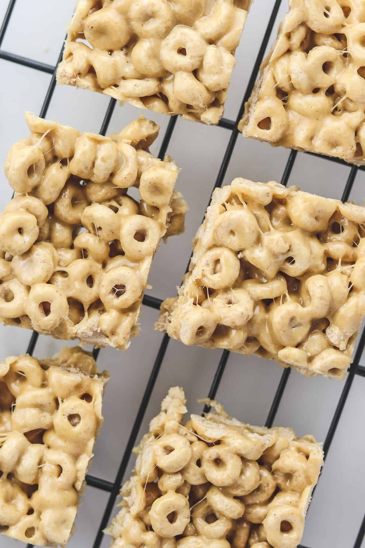cheerio bars on a cooling rack