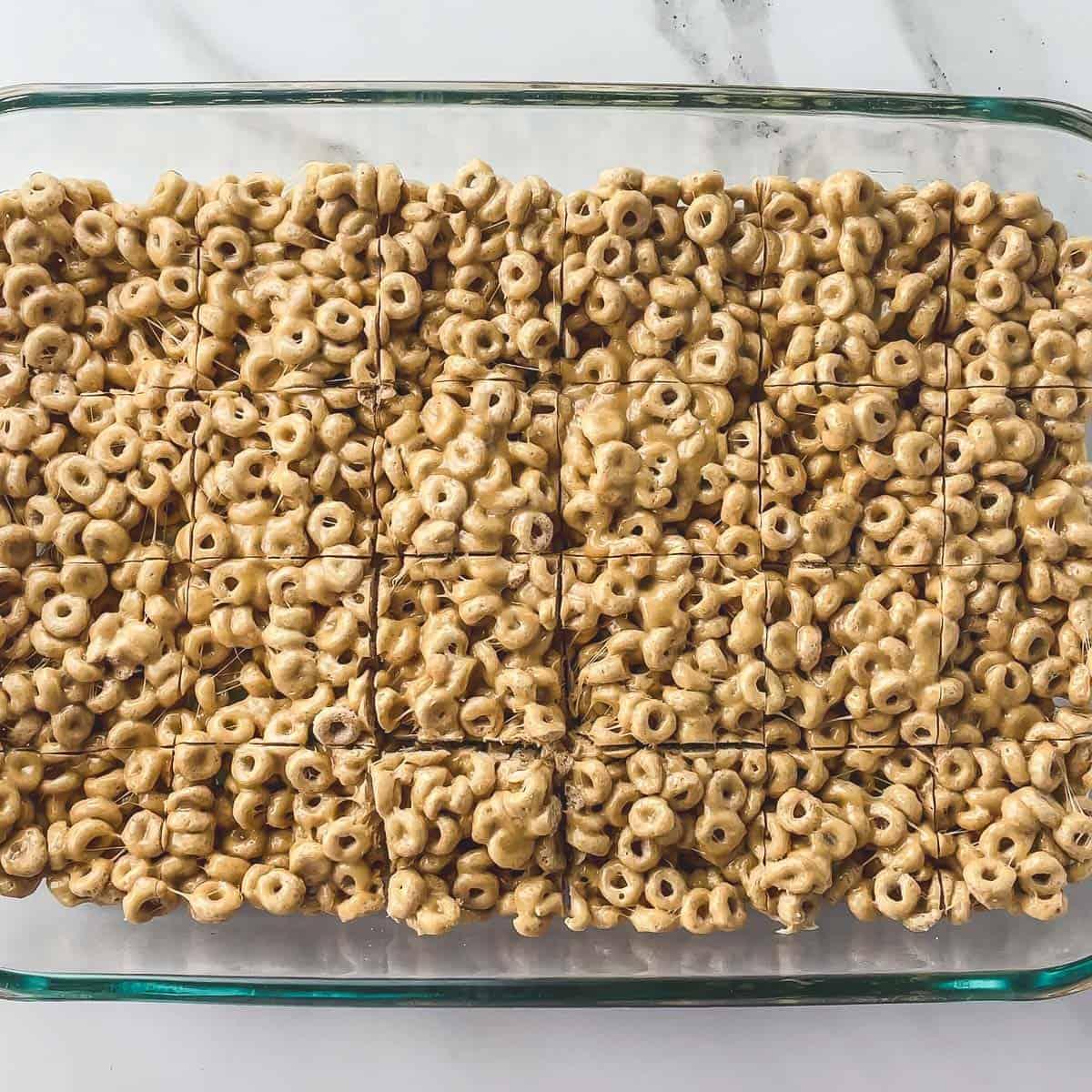 cheerio bars cut into a grid in a glass pan