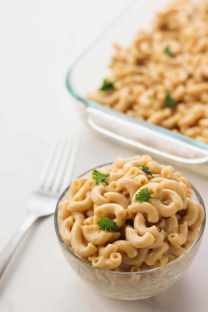 bowl of healthy macaroni and cheese with a fork