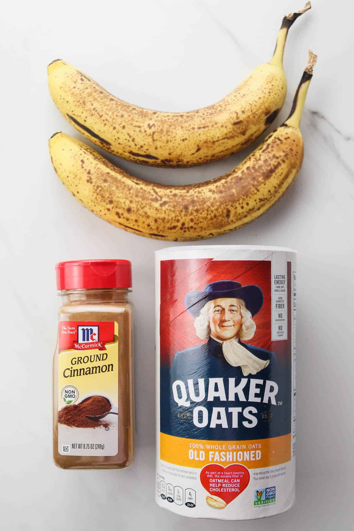 ripe bananas, cinnamon, and old fashioned oats