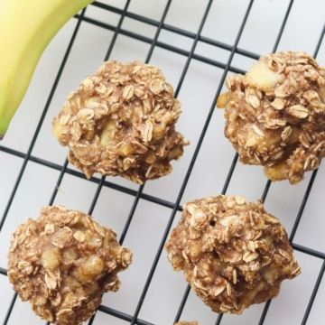 3 ingredient banana oatmeal cookies on cooling rack