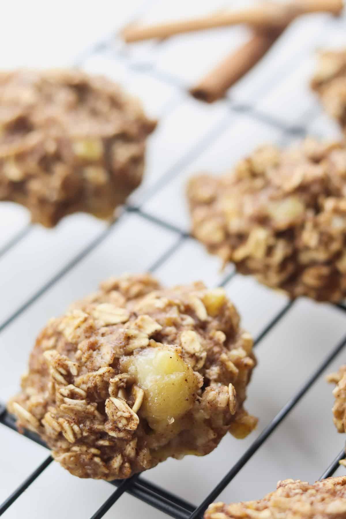 banana oatmeal cookies on cooling rack