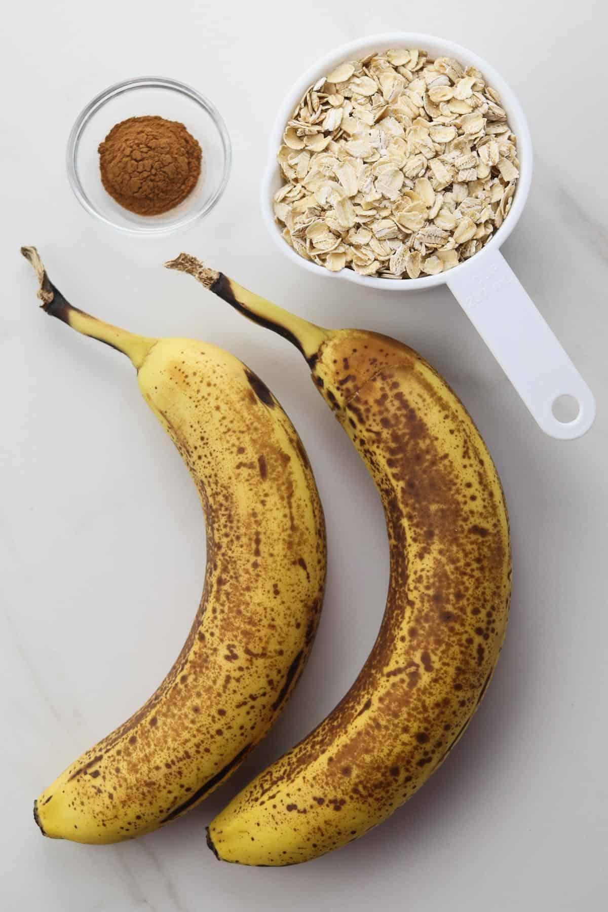 3 ingredients for banana oatmeal cookies