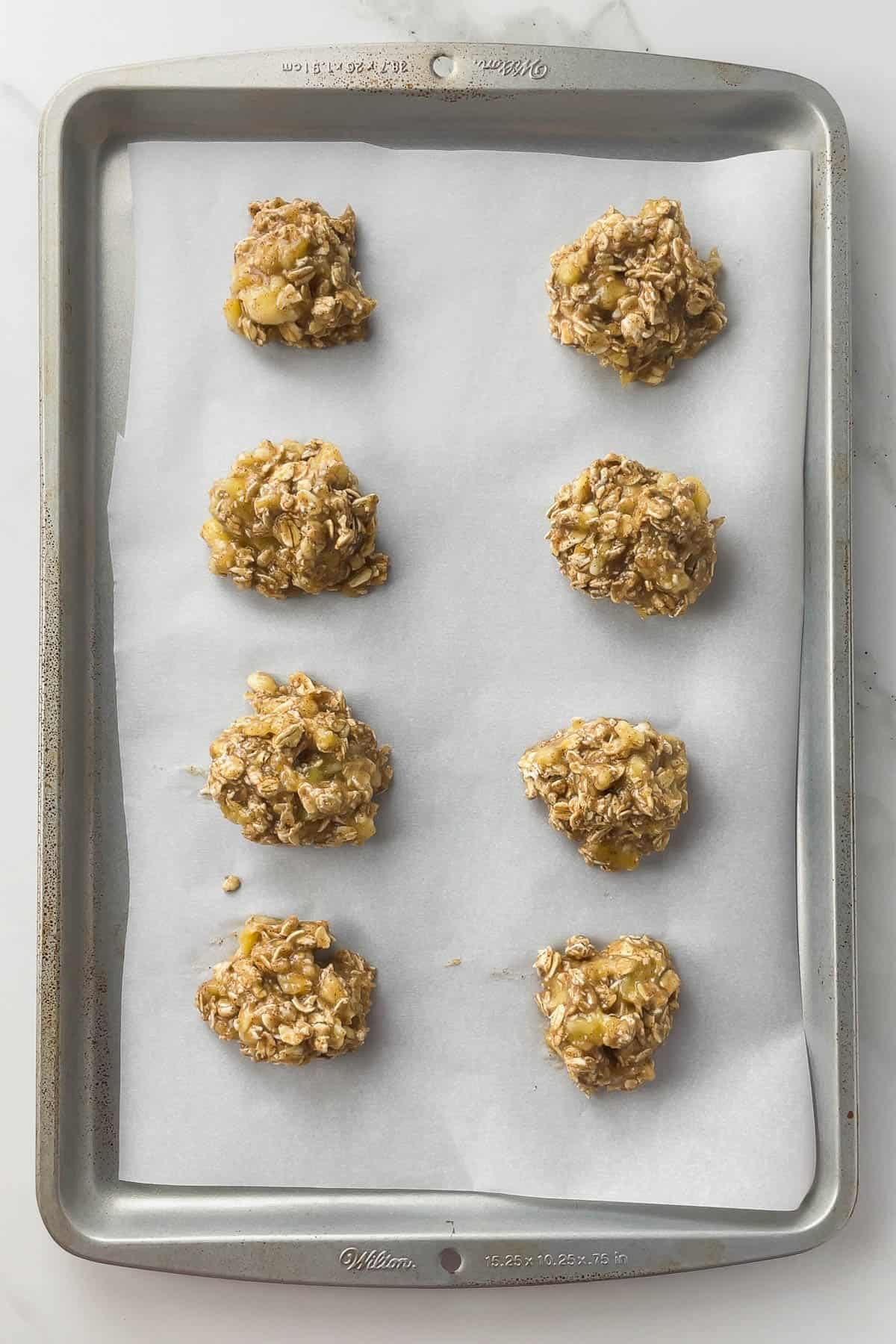 banana oatmeal cookies on baking sheet