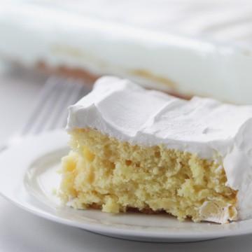 side view of a piece of skinny greek yogurt cake