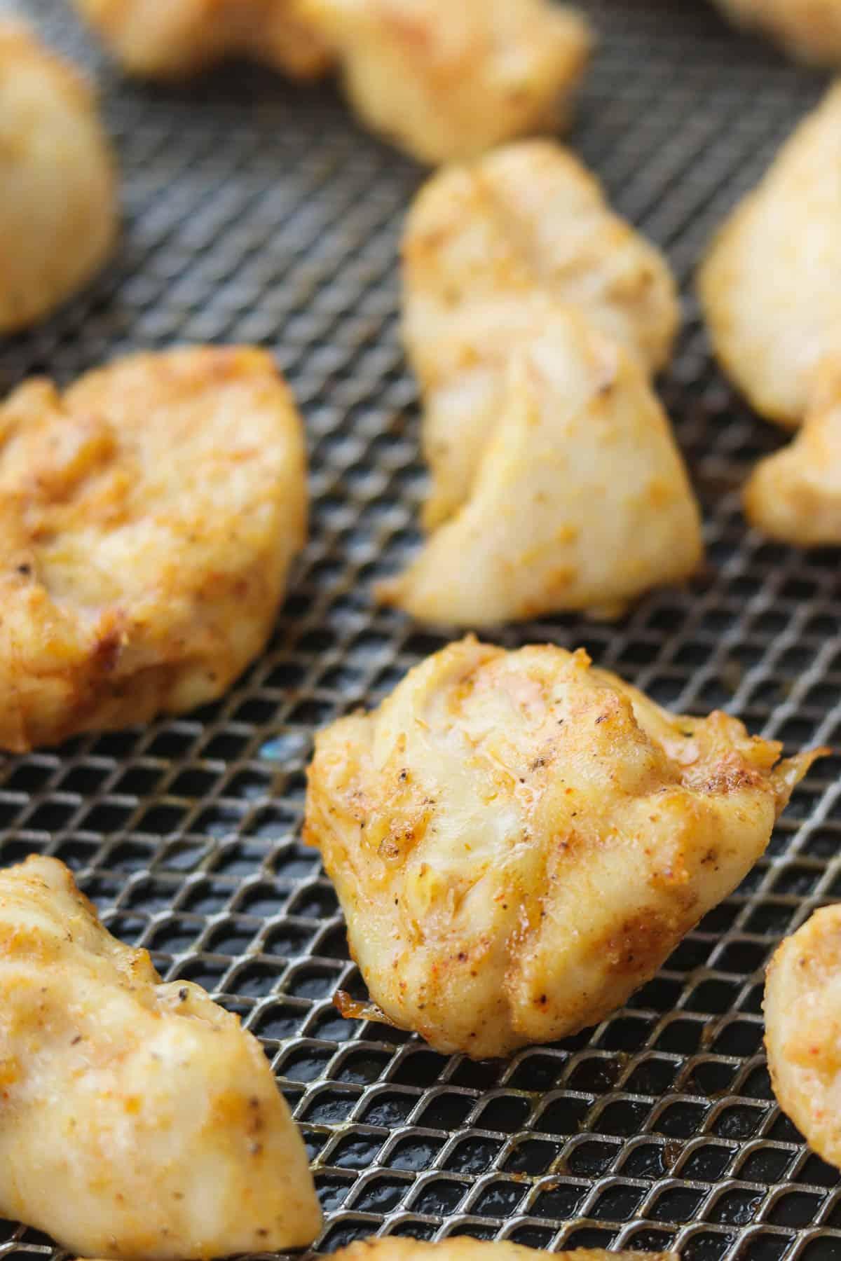 rotisserie chicken bites in air fryer basket